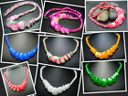 """12-20mm New Round Button Jade Beads Necklace 17.5"""" JN014A"""
