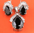 Gorgeous Pear Black Onyx Silver Gemstone Fashion Jewelry Set Earrings B8425