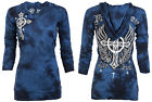 AFFLICTION Womens Hoodie Sweat Shirt Jacket Top VIRTUE Biker Sinful Vocal $78