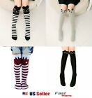 Toddlers Kids Girls Cotton Cat Striped Grey Bear Knee High Socks 2-7Y