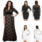 Plus Size Womens Sexy Bodycon Lace Floral Sheath Mesh 3/4 Sleeve Striped Dress