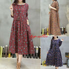 New Womens Casual Loose Floral Cotton Linen Shirt Long Sleeve Tunic Mid Dress