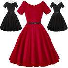 New Womens 50s Retro Vintage Swing Pin Up Short Sleeve Dress Housewife TEA Dress