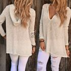 Women Knitted Sweater Jumper Hooded Long Sleeve Top Blouse Pullover Outwear S-XL