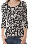 Black White Skull Pattern Women's Clothing Three-quarter Sleeve T-Shirt