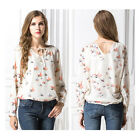New Women Summer V-Neck Long-Sleeved Big Yards Chiffon Shirt Blouse