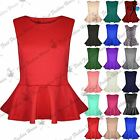 Womens Peplum Top Sleeveless Skater Flared Frill Mini Party Dress Plus Size 8-26
