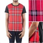 RED SUMMER ZIPPER FASHION T SHIRT YEEZY MENS TARTAN sz M-XXL STREETWEAR KANYE