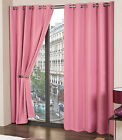 Pair of Plain PINK Summer Woven Heavy Thermal Blackout Eyelet Ring Top Curtains