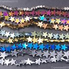 Kyпить Natural Hematite Gemstone Flat Star Beads 6mm 8mm 10mm Black Silver Gold 16