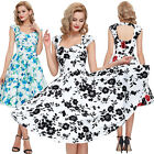 Sexy WOMENS Retro Swing DRESS 50S Housewife Floral Summer Pinup Party Prom S-XL
