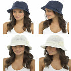 Womens Crochet Style SUN Hat Woven Straw Flower Crushable  Holiday Bucket gl708