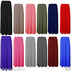 Ladies Women's Over High Waist Pleated Fold Gypsy Jersey Long Maxi Skirt
