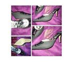 Womens Black High Heel Shoes Christian Audigier Leather High Heel pumps 6-10US