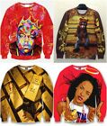 3D PRINT SWEATERS BIGGIE TUPAC AALIYAH GOLD BAR KANYE WEST YEEZY BEAR FASHION