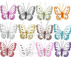 Small Glitter Diamante Nylon Clip On Butterflies - Many Colours - Decorations