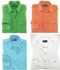 $98 Polo Ralph Lauren Mens Custom Fit Slim Solid Linen Military Casual Shirt