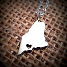 Maine State Necklace Charm, ME Heart Pendant Made In America Silver