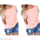 1 Pc Casual Women Summer Tank Top Lace Short Sleeved Blouse Crew Neck T-Shirt
