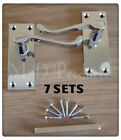 Victorian Polished Chrome Lever Scroll Latch Door Handles (7 Sets)