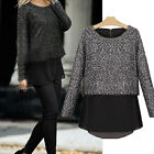Women Ladies Chiffon Woolen Patchwork Blouse Long Sleeve Tops Casual Kint Shirt