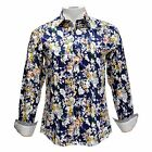 TR Premium Men's Slim Fit Button Down Long Sleeve Floral Design Shirt 702 Navy