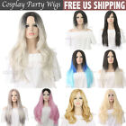 US Womens Wigs Long Short Straight Curly Synthetic Hair Ombre Silver Grey Wigs