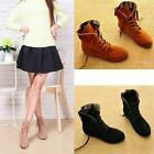 Stylish women shoes classy lace tie ankle booties synthetic suede flat boots
