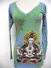 CHRISTIAN AUDIGIER ED HARDY JUNIORS  GEISHA TUNIC TEE DRESS SHIRT NWT FOIL GREEN
