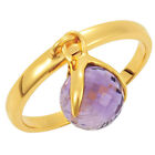 18k Yellow Gold Flashed Silver Amethyst Ring - New