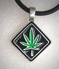 Green Marijuana weed Leaf Reggae High Pot Hippie Punk Rock Biker Pewter Pendant
