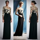 DAVID MEISTER $590 Black/Gold Long Sleeve Lace Overlay Gown Sz 2 NEW