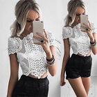 Hot Women Elegant White Short Sleeve  Floral Lace Blouse Irregular Hem Crop Tops