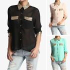 TheMogan Sequined Collar Button Down Chiffon Blouse Office Evening Dressy Shirts