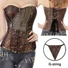 Sexy Boned Brocad Lace Up Corset Basque Basque Overbust Bustier Top Lingerie UK