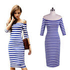 2016 Womens Off Shoulder Blue&White Striped Fitted Stretch Bodycon Pencil Dress