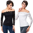 New Sexy Fashion Womens Long Sleeve Casual Floral Lace T-shirt Tops Blouse Black