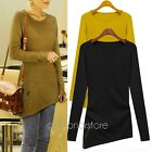 NEW Fashion Women's Long Sleeve Knitwear Loose Blouse Irregular Tops T Shirt