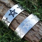 PENTAGRAM PENTACLE STAR Pagan Wicca Magic Silver Pewter Bangle Bracelet Cuff