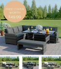 Rattan Garden Furniture Corner Set Dining Table Dark Mixed Grey + Free Cover