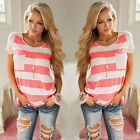 SexyWomen Ladies O-Neck Short Sleeve Loose T-shirt Blouse Tops Colorful Girl