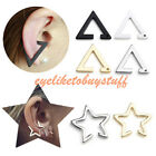 1x Simple Geometric Star Triangle Ear Clip On Cuff Stud Cartilage Earring Gift