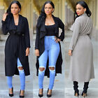 New Fashion Women Italian Waterfall Trench Coat Belt Long Sleeve Coat Jacket E11