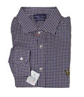 $595 Ralph Lauren Purple Label Mens Gingham Slim Equestrian Logo Dress Shirt 17