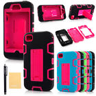 Defender Shockproof Silicone With Stand Hard Case Cover For iPhone 4 iPhone 4/4s
