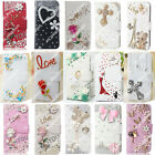 New Wallet Flip PU Leather Phone Case Cover Diamond Rhinestone Bling Skin For LG