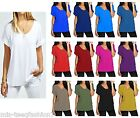 Womens Oversized Loose Fit Turn Up Batwing Sleeve Long Tunic Top T shirt UK 8-28
