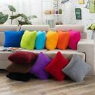 Chic Home Decor Plush Square Throw Pillow Fluffy Fur Cushion Cover Soft Colorful