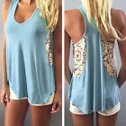 Top Vest Sleeveless Blouse Women Sexy Loose Lace Summer Casual Tank T-Shirt