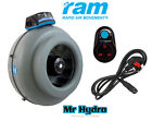 RAM 6 inch 150mm extraction, inlet fan Rapid Air Movement Fan & speed controller